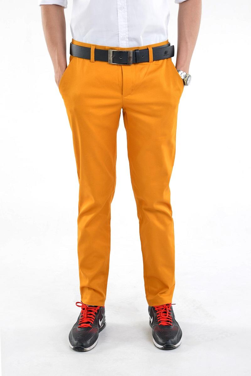 กางเกงสแล็คผู้ชายสีเหลืองมัสตาร์ด ผ้ายืด ทรงกระบอกเล็ก