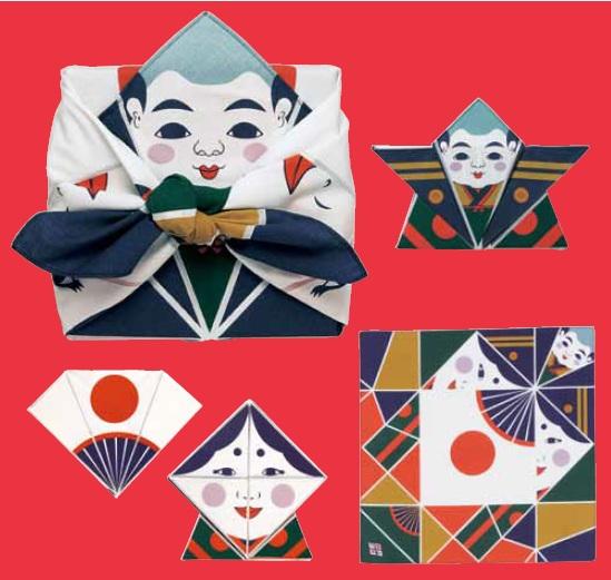 ผ้าห่อเบนโตะ Origami Furoshiki ลาย Fuku suke