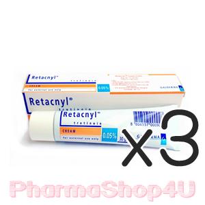 (ซื้อ3 ราคาพิเศษ) Retacnyl Cream Tretinoin 0.05% 30G รีแทคนิล ครีม รักษาสิว ช่วยผลัดเซลล์ผิว พร้อมเพิ่มความชุ่มชื้นด้วย สคอวรีน กรีเซอรีน