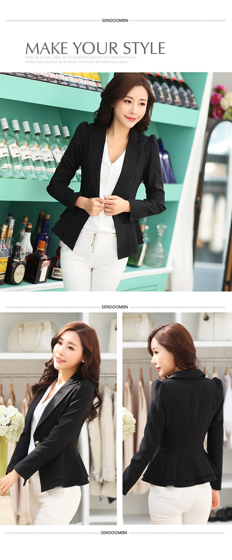 เสื้อสูททำงานผู้หญิงสีดำ ทรงสวย ชายเสื้อแต่งระบายสองชั้น น่ารัก