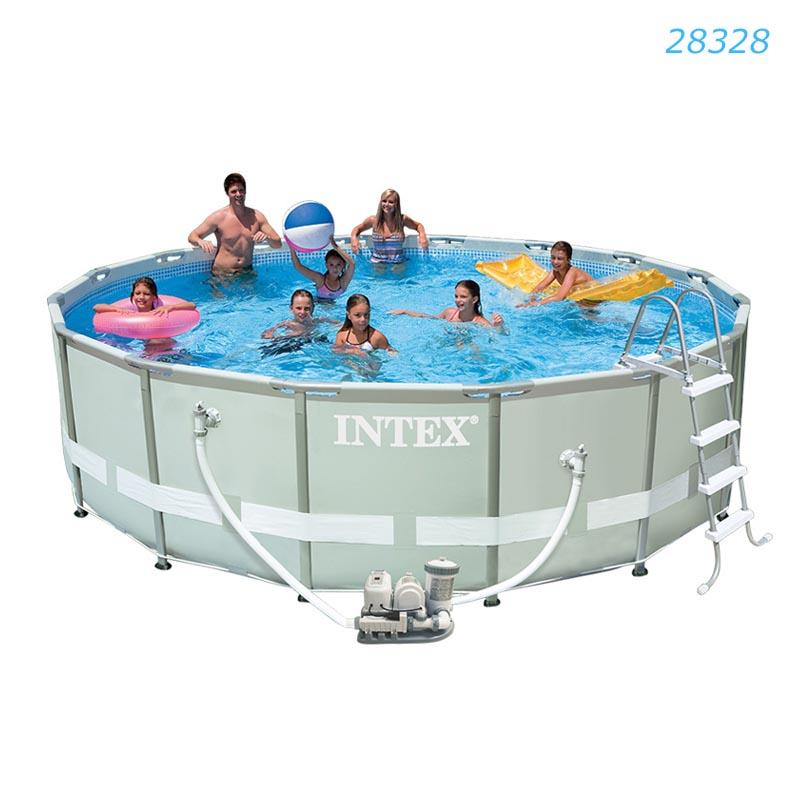 Intex ชุดสระอัลทร้าเฟรม 16 ฟุต ระบบน้ำเกลือ-ไส้กรอง (488x122 ซม.) รุ่น 28328