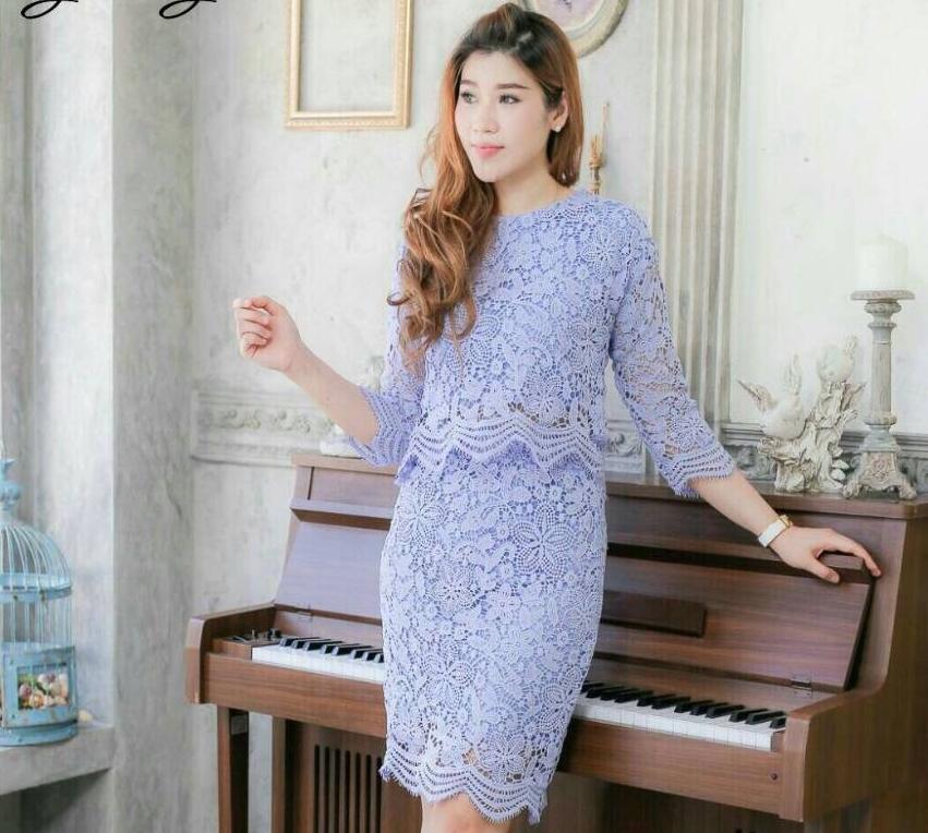 ชุดไปงานแต่งงาน ชุดออกงานสวยๆ สีฟ้า ชุดเซ็ทเสื้อ+กระโปรง ผ้าลูกไม้