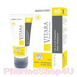 VITARA Sun Screen SPF 40 PA++ 25G สูตรกันน้ำ เพิ่มคุณค่าด้วย นาโนกลูต้าไธโอน และว่านหางจระเข้ คืนความชุ่มชื่น ให้ผิวสดใสนิ่มนวล