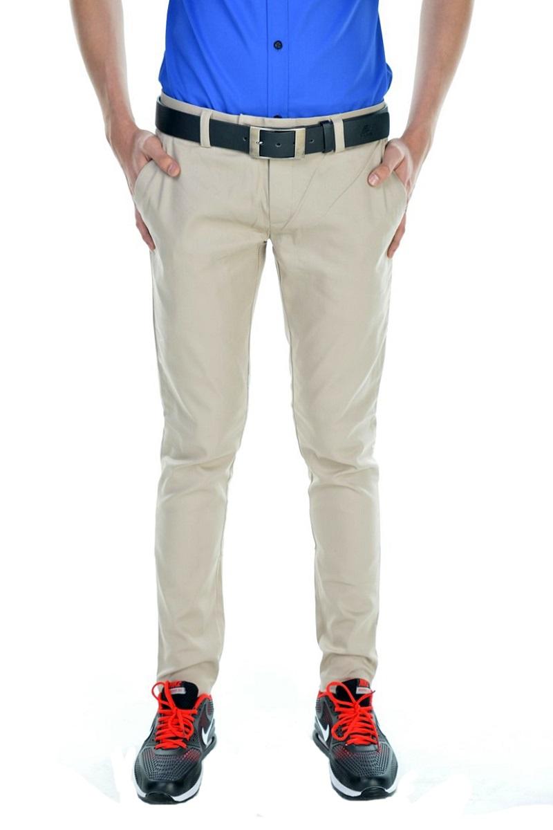กางเกงสแล็คผู้ชายสีครีม ผ้ายืด ขาเดฟ