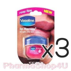 (ซื้อ3 ราคาพิเศษ) (Rosy Lips) Vaseline Lip Therapy 7g วาสลีนเนื้อสีชมพูอ่อน น่าพกพา กระปุกน่ารัก ให้ความชุ่มชื่น กับริมฝีปากได้อย่างดีเยี่ยม