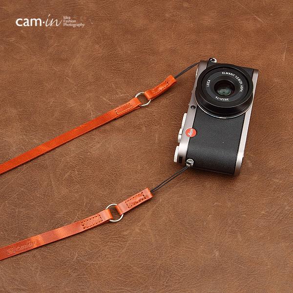 สายคล้องกล้องหนังแท้ cam-in Simple Leather สายหนังเส้นเล็ก ร้อยรูเล็กได้ สีน้ำตาลอ่อน