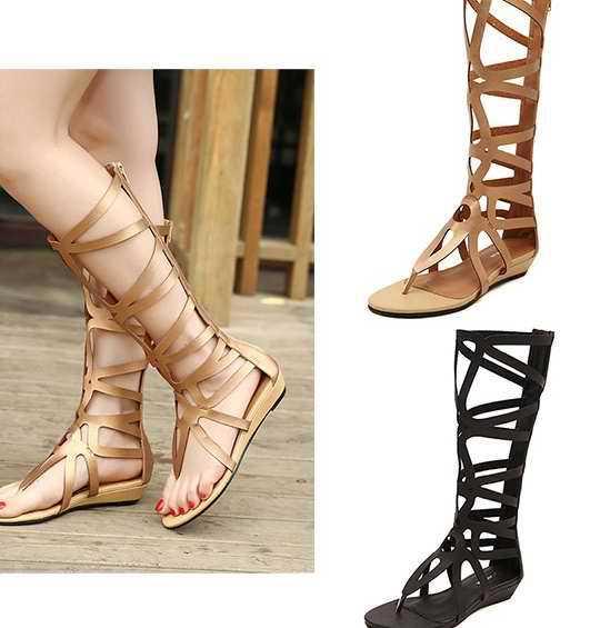 Pre-รองเท้ากรีกโรมัน Gladiatorส้นเตี้ย สีทอง สีดำ