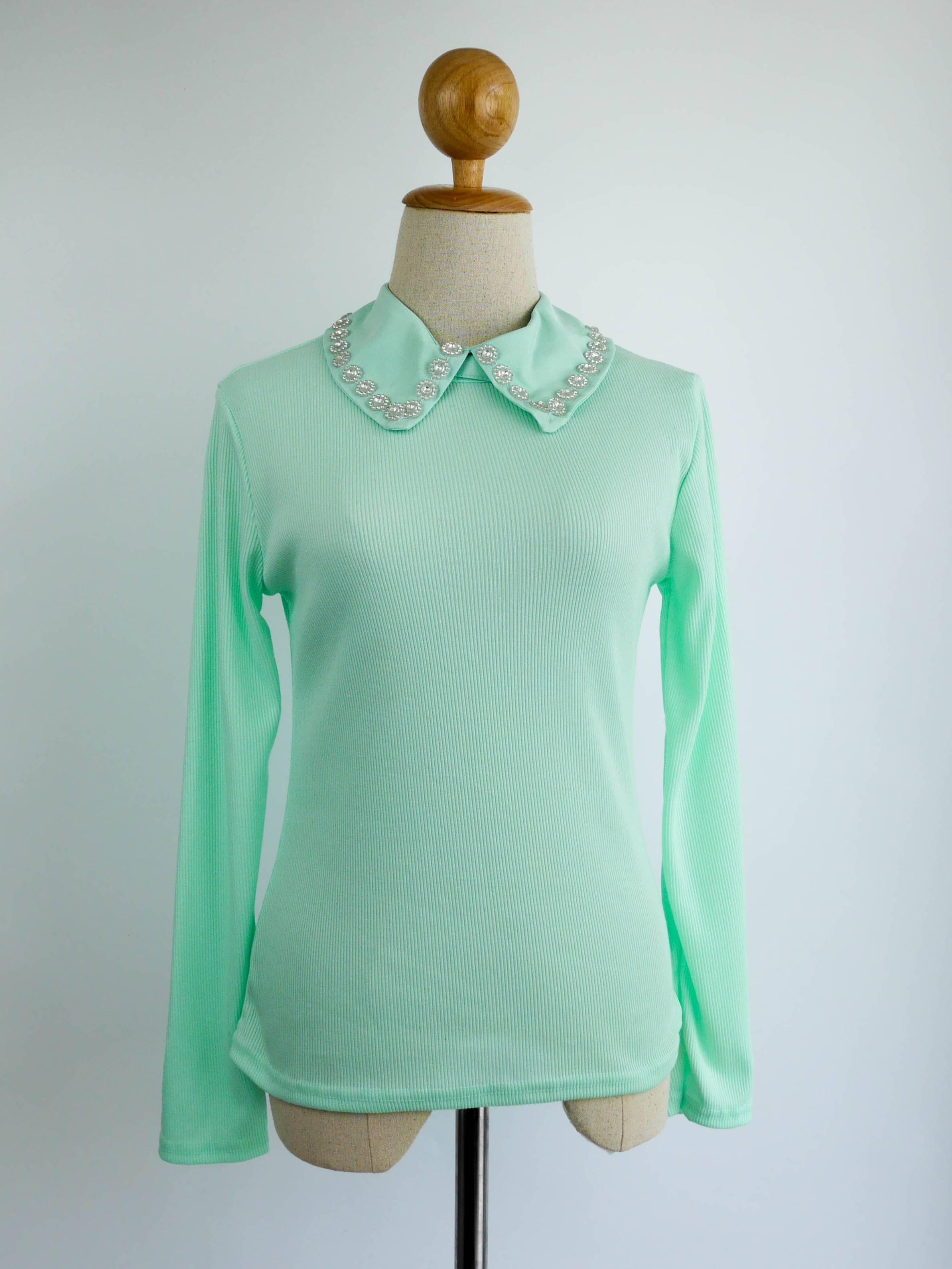 เสื้อแฟชั่น แขนยาว คอปกเชิ๊ต(ถอดได้) สีเขียว