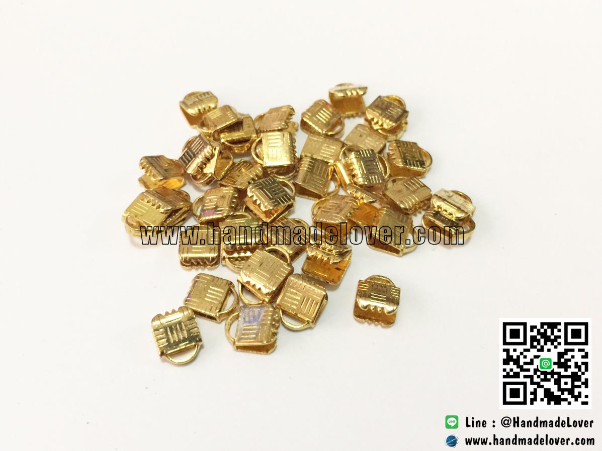 (Sale) บานหนีบปลายเชือก สีทอง ขนาด 6 mm. [แพ็ค 20 ชิ้น] ตามสภาพ