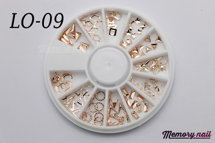 LO-09 โลหะ และหมุดทรงต่างๆ สีทองแดงอ่อน กล่องกลม 1กล่อง มี12 แบบ
