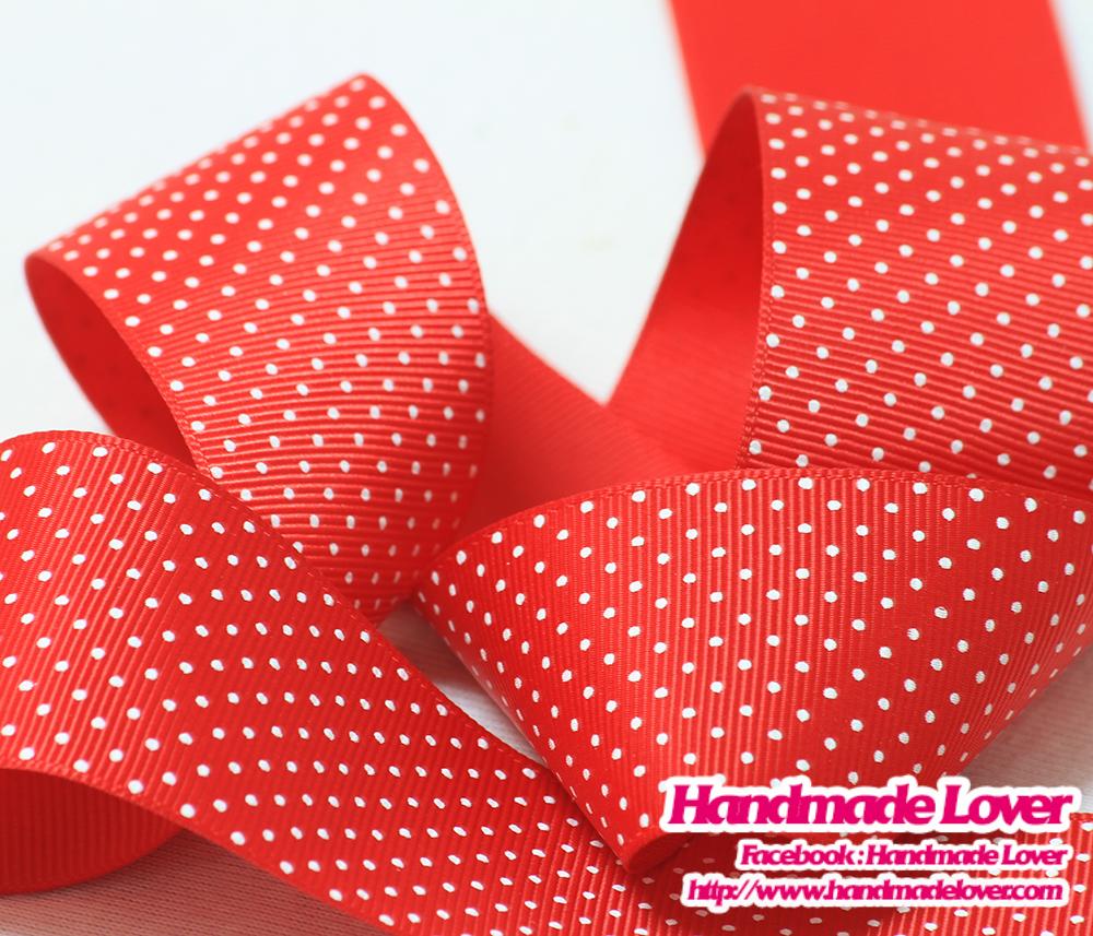 ริบบิ้นผ้า กรอสเกรน สีแดง ลายจุด ขนาด 38 mm
