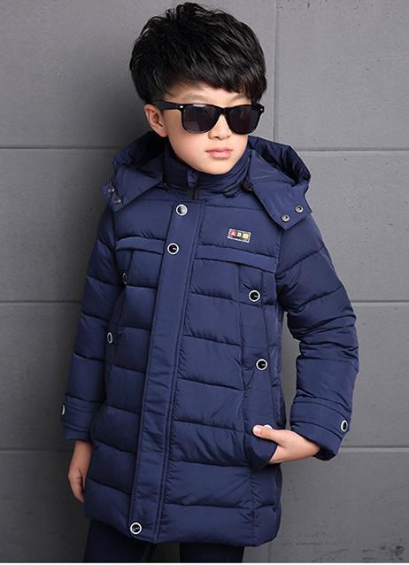 C123-66 เสื้อกันหนาวเด็ก สีน้ำเงินสวย ผ้านุ่ม บุนวมหนามีซับใน มีฮูท ถอดออกได้ แต่งกระดุมซิปซ่อน มีกระเป๋าซุกมือ size 120-130