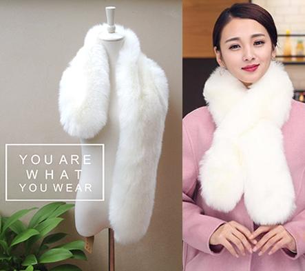 พร้อมส่งผ้าพันคอเฟอร์สีขาว สไตล์เกาหลี