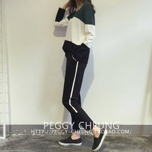 (ภาพจริง) กางเกงแฟชั่น ขายาว แต่งแถบหนังด้านข้าง สีดำ