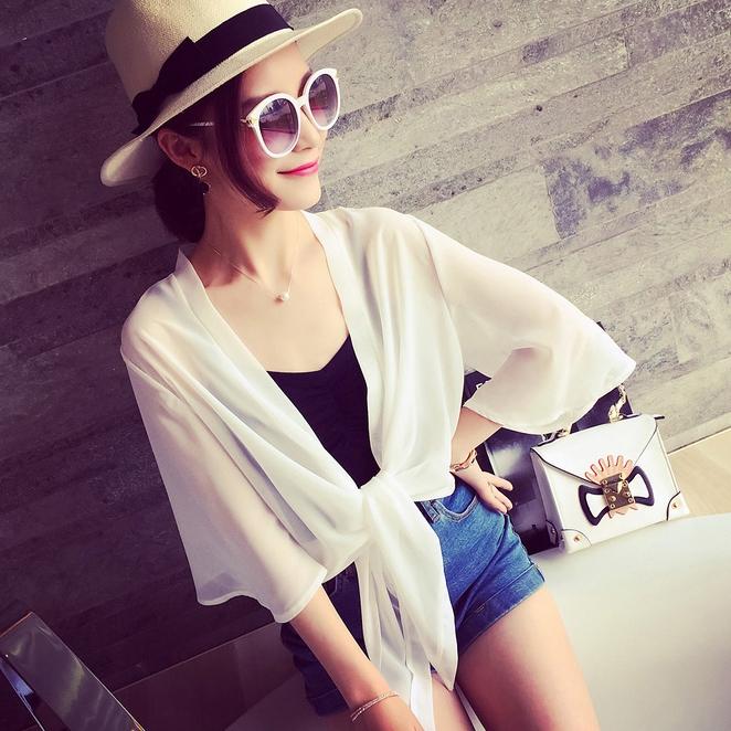 เสื้อคลุม แขน4 ส่วน ผ้าชีฟอง สีขาว