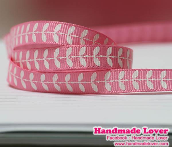 ริบบิ้นผ้า กรอสเกรน สีชมพู พิมพิ์ลายใบไม้