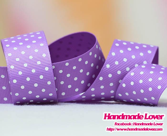 ริบบิ้นผ้า สีม่วงพิมพ์ลายจุด 25 mm.