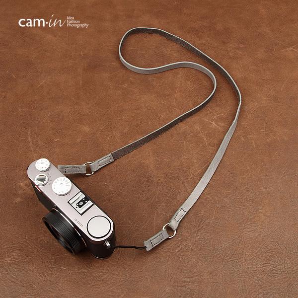 สายคล้องกล้องหนังแท้ cam-in Simple Leather สายหนังเส้นเล็ก ร้อยรูเล็กได้ สีเทา