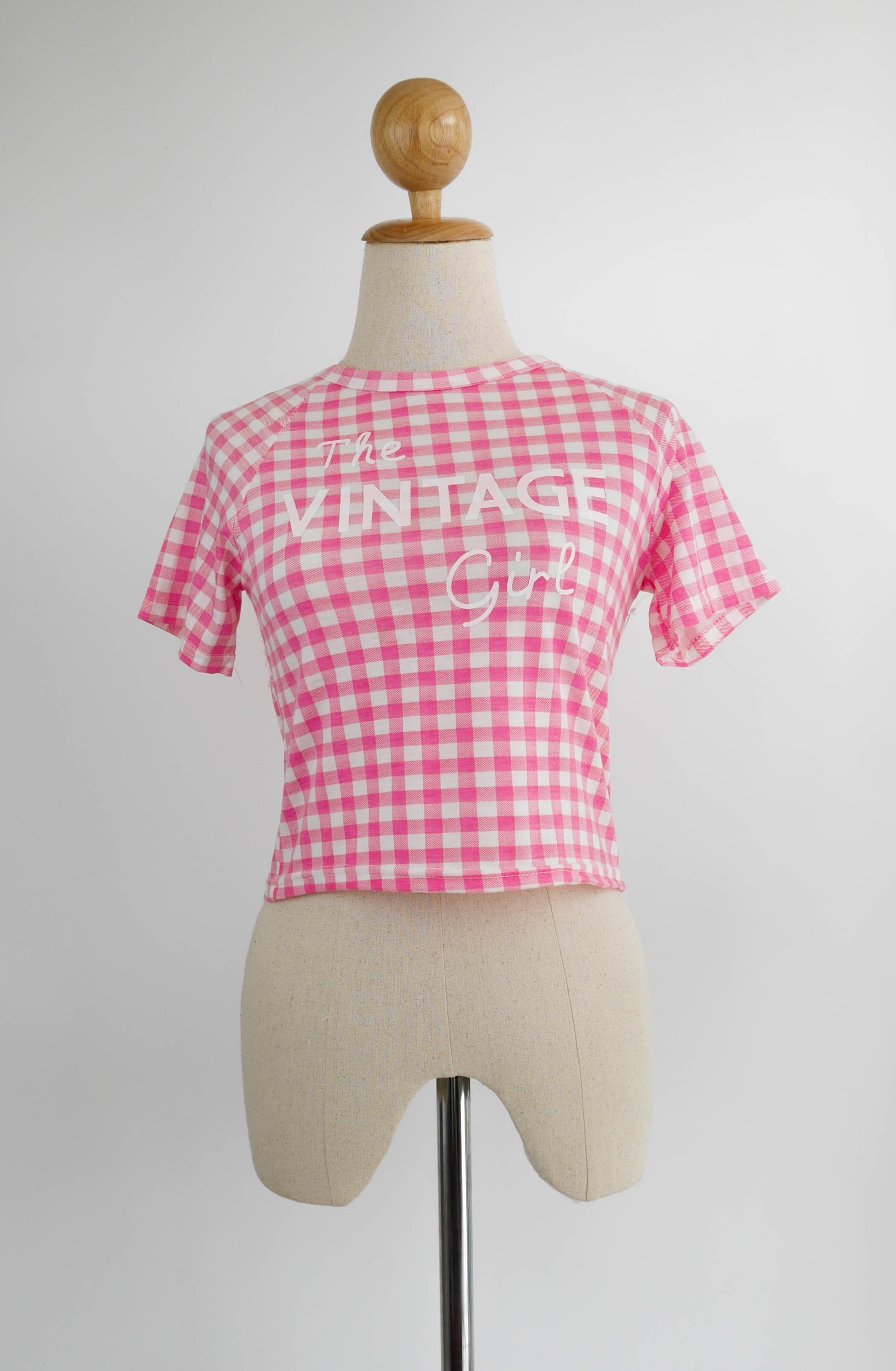 เสื้อแฟชั่น ลายสก๊อต VINTAGE สีชมพู