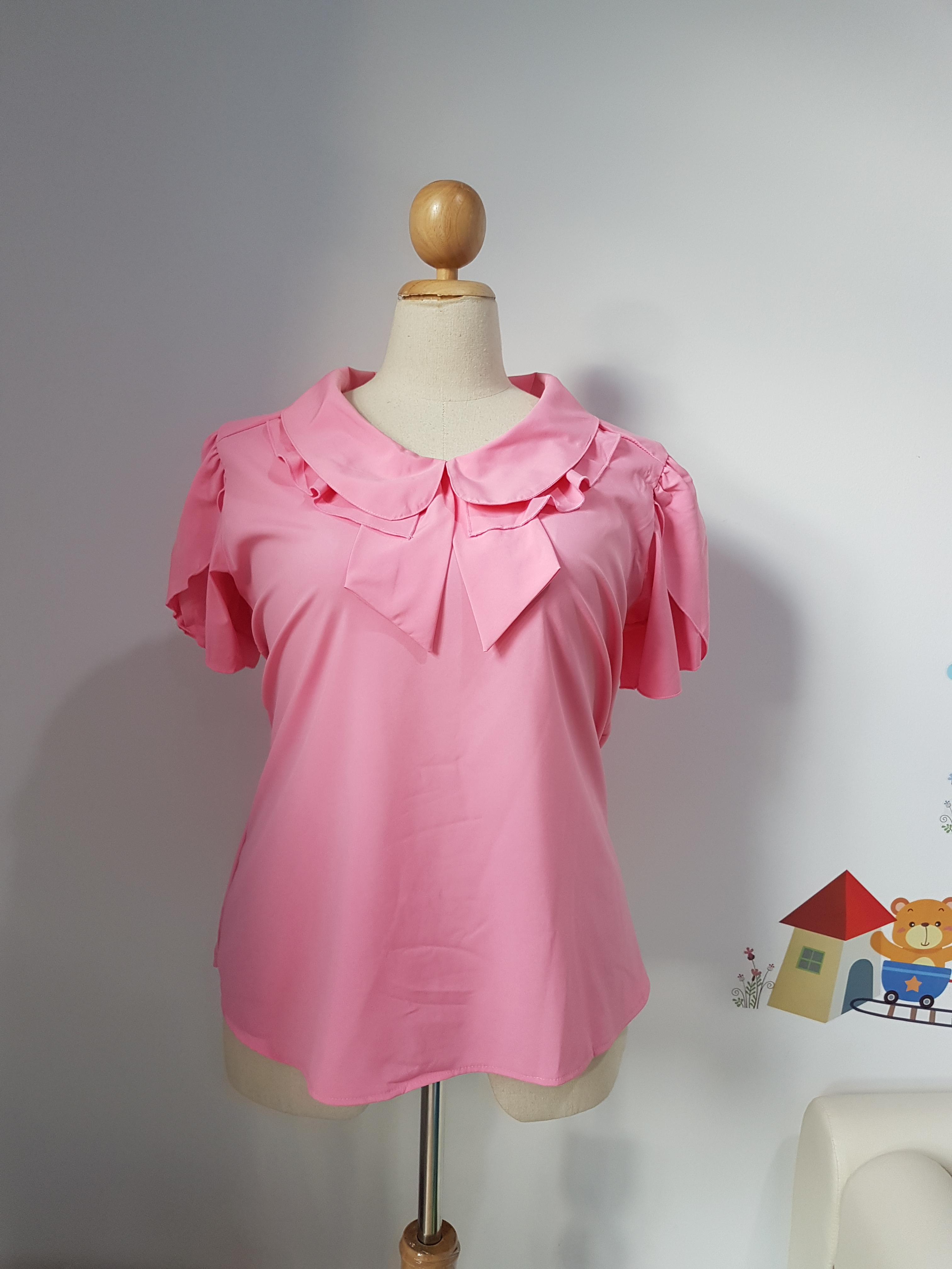 เสื้อ ผ้าไหมอิตาลี คอปกบัวซ้อน สีชมพู ไซส์ XXL อก 50 นิ้ว