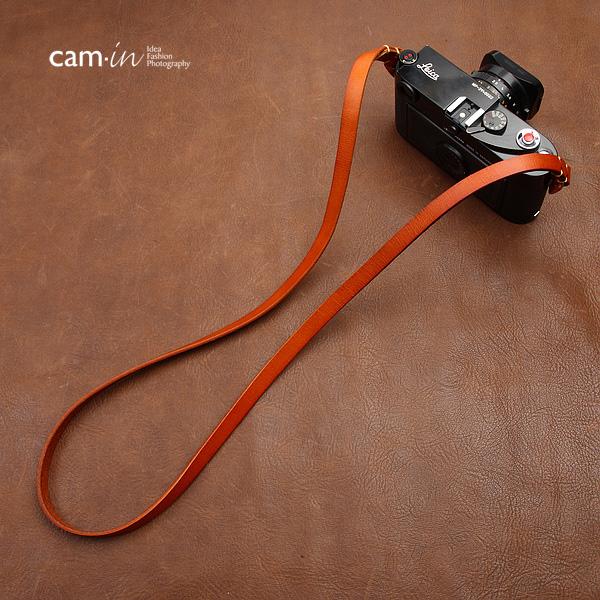 สายคล้องกล้องหนังแท้เส้นเล็ก Cam-in leather camera strap สีน้ำตาล