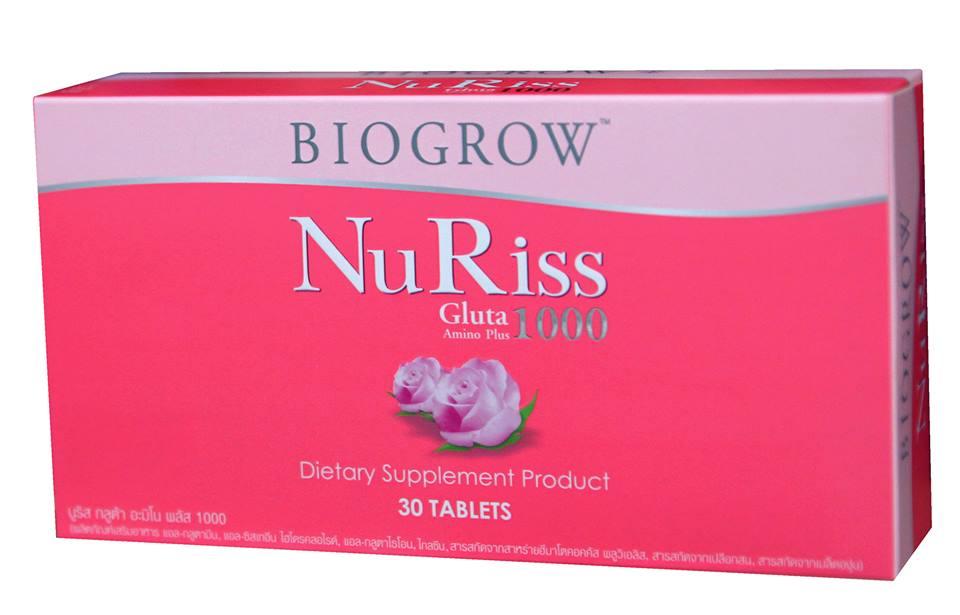 Biogrow NuRiss Gluta 1000 2 กล่อง + 30 เม็ด