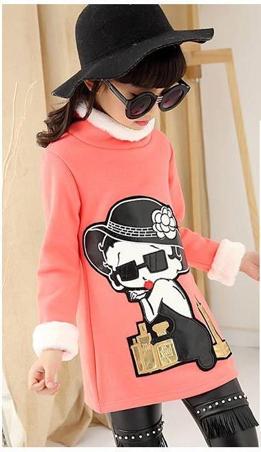 C129-20 เสื้อกันหนาวเด็กคอสูงผ้าสีชมพูคอสูง ปักลายการ์ตูนสวย ผ้าขนนุ่ม ใส่อุ่น size 120-160