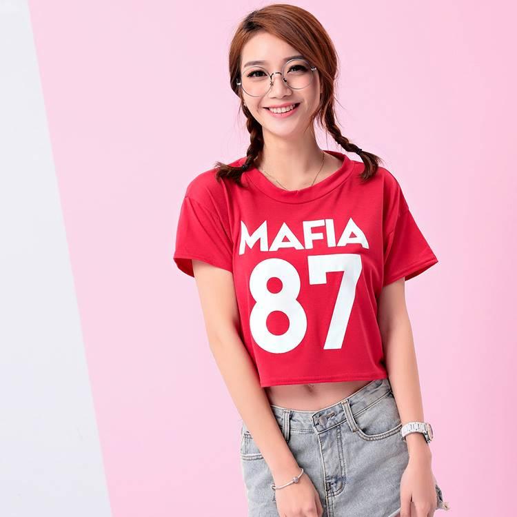 เสื้อแฟชั่น คอกลม แขนสั้น ลาย MAFIA87 สีแดง