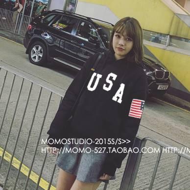 เสื้อแฟชั่น มีฮูด แขนยาว บุกันหนาว ผ้าฝ้าย ลาย USA สีดำ
