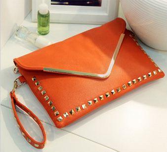กระเป๋าสีส้มตอกหมุด พร้อมสายสะพายยาว คุณภาพดีBrand Axixi