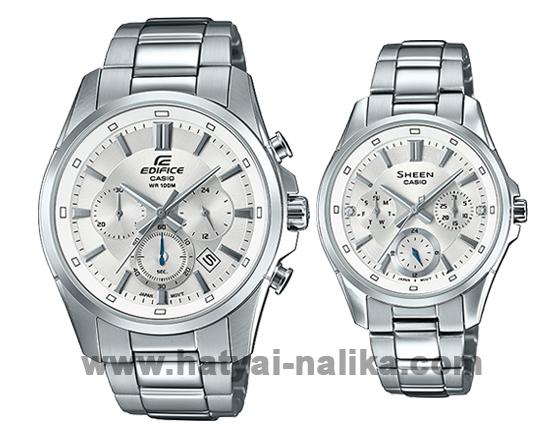 นาฬิกา Casio SETคู่รัก EDIFICE x SHEEN รุ่น EFR-560D-7A + SHE-3060D-7A ของแท้ รับประกัน 1 ปี