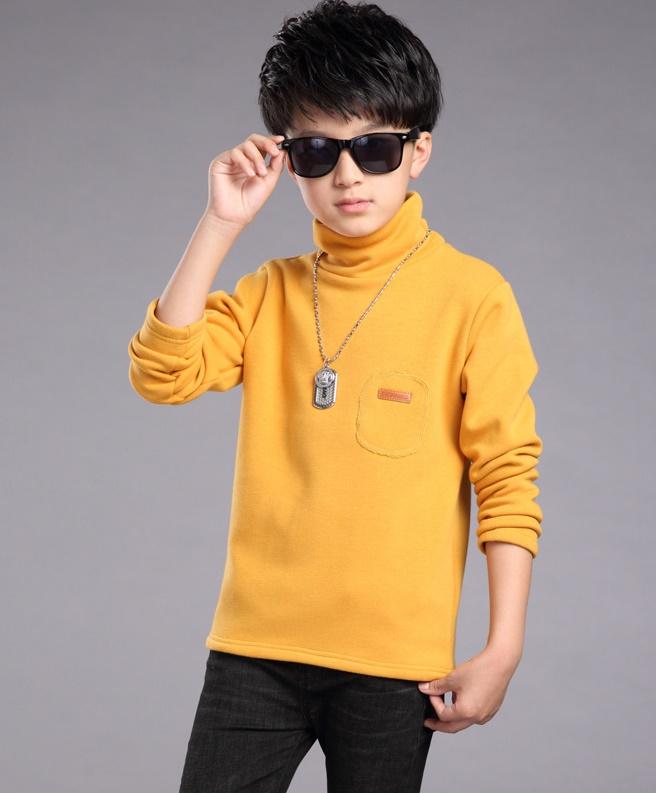 C119-54 เสื้อกันหนาวเด็กสีเหลือง บุขนนุ่มๆเพิ่มความอบอุ่น ใส่สบาย size 120-160