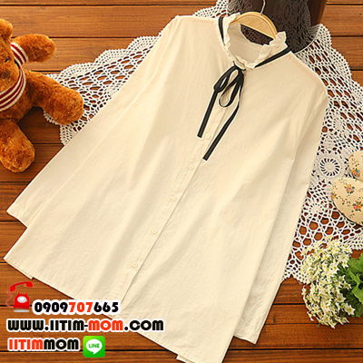 เสื้อแขนยาวสีขาวคอตั้งสวย พร้อมโบว์ (รุ่นนี้ใส่กับเอี๊ยมสวยมาก)