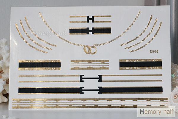 สติ๊กเกอร์แทททูทอง รหัส E-006  สติ๊กเกอร์แทททู เมทัลลิก เงิน ทอง  ลาย เส้น สร้อยคอ สร้อยข้อมือ แหวน