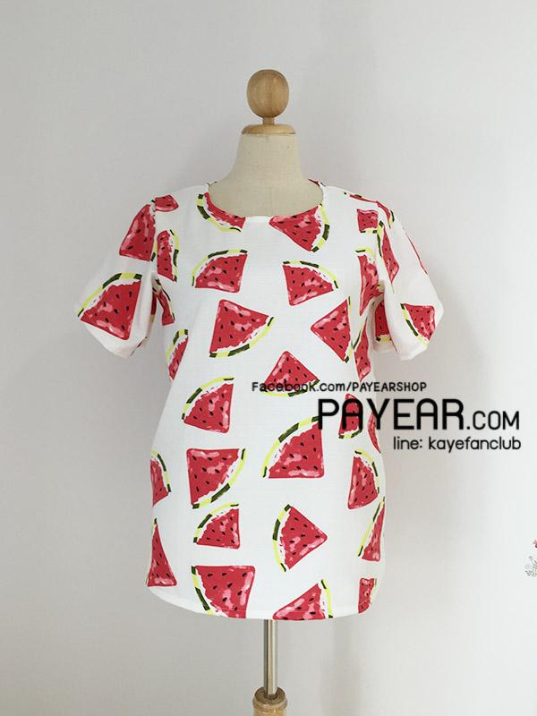 เสื้อ ผ้ามิรินพิมพ์ลายแตงโม สีขาว อก 44 นิ้ว