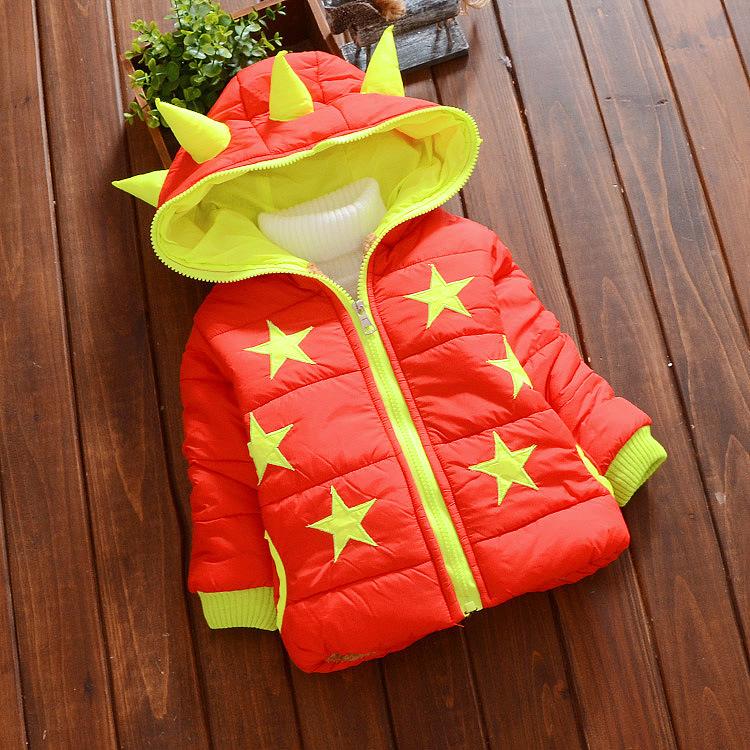 C114-21 เสื้อกันหนาวเด็ก สีแดงบุนวม ปักลายดาว ซิปหน้า มีฮูท สวยอุ่นสบายๆ size L-XXL สำหรับเด็ก 1-4 ขวบ พร้อมส่ง