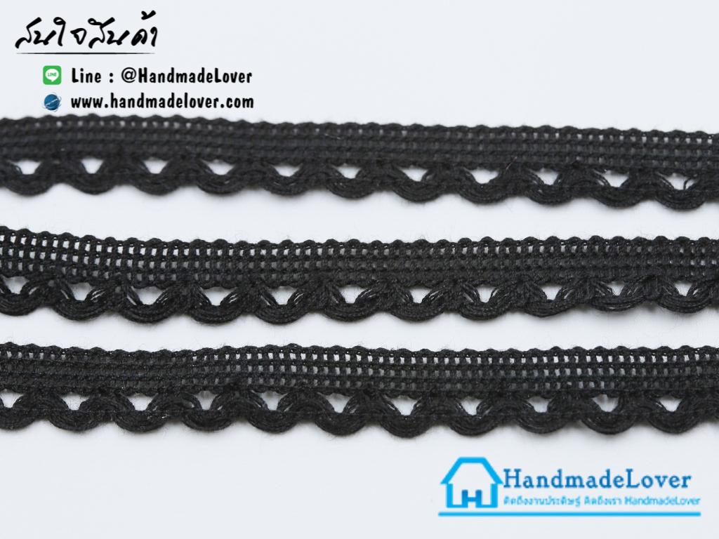 ผ้าลูกไม้ สีดำ สำหรับทำ Choker ขนาด 12 มม.