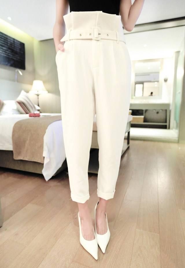 กางเกงแฟชั่น ขายาว ทรงฮาเร็ม สีขาว + เข็มขัด