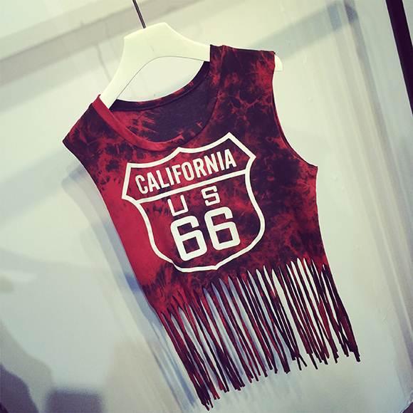 (SALE) เสื้อกั๊กสไตล์ฮาราจูกุ แต่งระบาย No.66 สีแดง