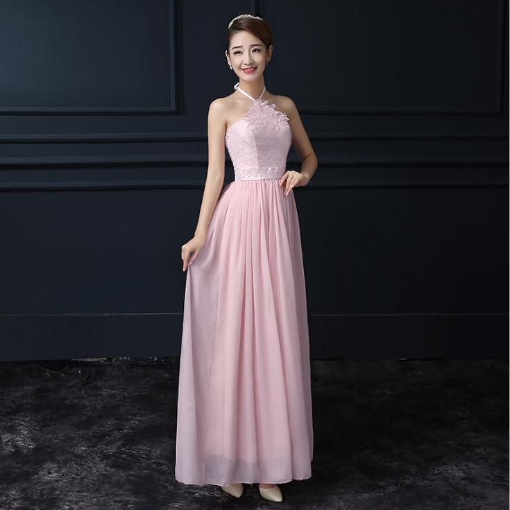 ชุดราตรียาวสีชมพู ผูกคอ ลุคสวยสง่า ดูดี เหมาะสำหรับชุดใส่ออกงาน ไปงานแต่งงานแต่งงาน ธีมงานสีชมพู