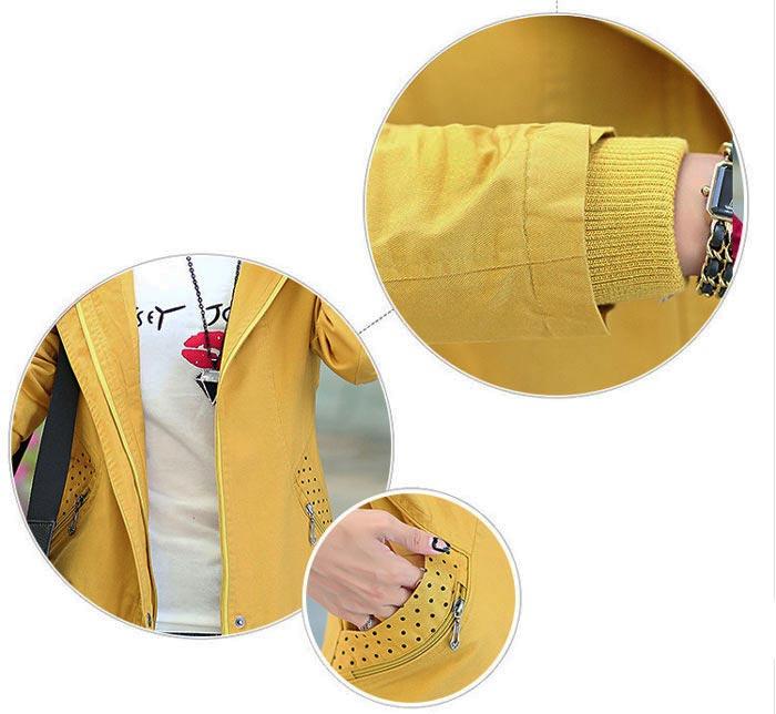 เสื้อกันหนาวผู้หญิงแฟชั่นเกาหลี สีเหลือง แจ็คเก็ตมีฮู้ด ลายจุด ใส่กันลมสวยๆ