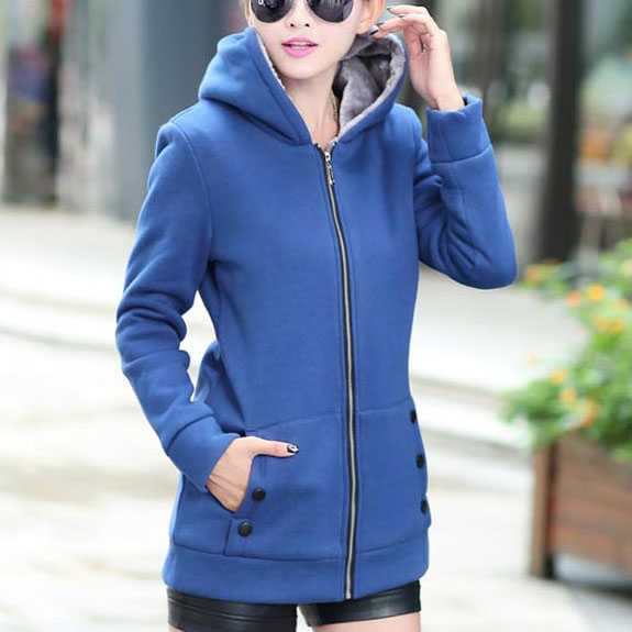 เสื้อกันหนาวผู้หญิงแฟชั่นเกาหลี สีน้ำเงิน แจ็คเก็ตมีฮู้ด ซับบุขนสัตว์