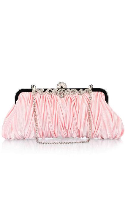 กระเป๋าคลัทช์ออกงานสีชมพู ทรงสีเหลี่ยมผืนผ้า จับจีบ ถือออกงาน ไปงานแต่งงาน ลุคเรียบๆ สวยเก๋ น่ารัก