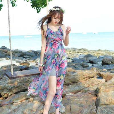 ชุดเที่ยวทะเลลายดอกไม้สีเทา สายเดี่ยว ผ้าชีฟองสวยพริ้ว ใส่สบาย