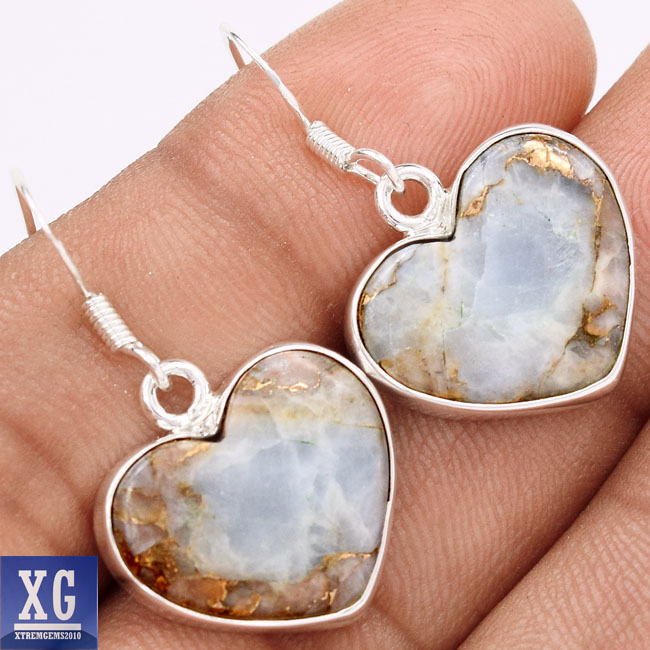 ▽HEART COPPER WHITE TURQUOISE ต่างหูเงินแท้ 925 (4.8g)