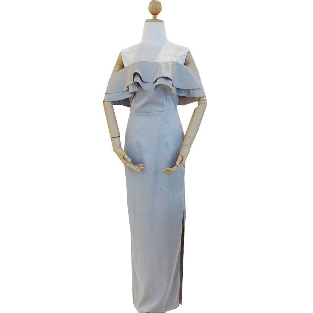 ชุดเดรสออกงาน/ไปงานแต่งงานสีเทา เปิดไหล่แต่งระบาย กระโปรงยาวผ่าหน้า สไตล์เรียบหรู สวยๆ ดูดี ( สินค้าพร้อมส่ง )