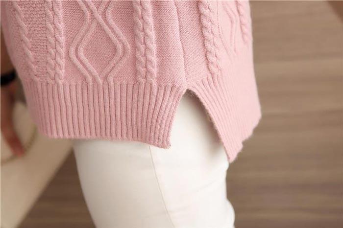 เสื้อไหมพรมแฟชั่นกันหนาว เสื้อสเวตเตอร์ สีเทา แขนยาว ดีเทลลายถักลูกโซ่ ใส่กันหนาวได้