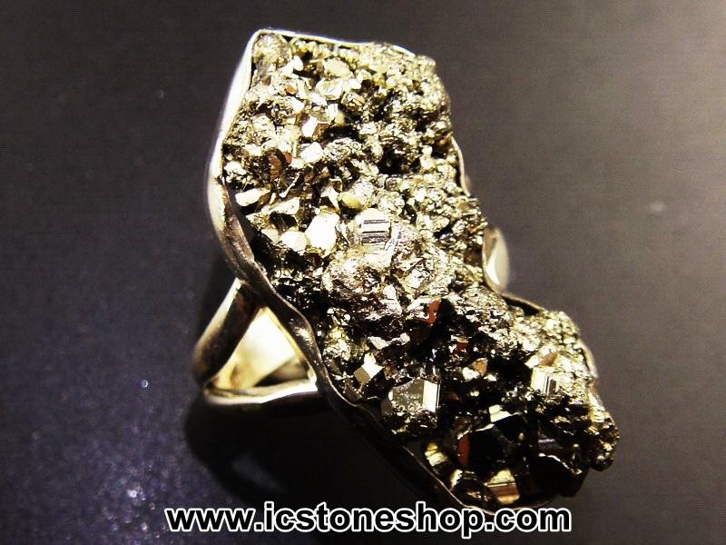 ไพไรต์ (Pyrite)จากเปรู-แหวนเงินแท้ 925 (แหวนเบอร์ : 52 , 8.9g)