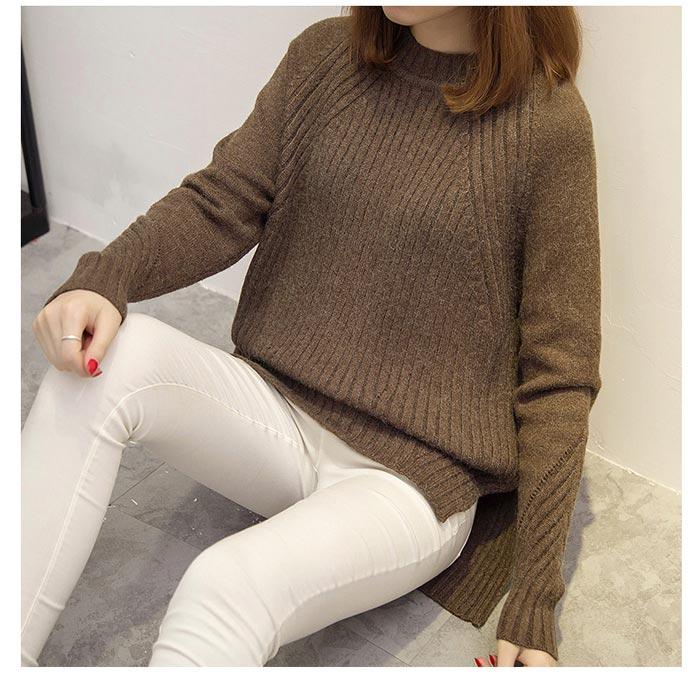 เสื้อไหมพรมแฟชั่นกันหนาว เสื้อสเวตเตอร์คอกลม สีคาราเมล แขนยาว ยาวคลุมสะโพก น่ารัก