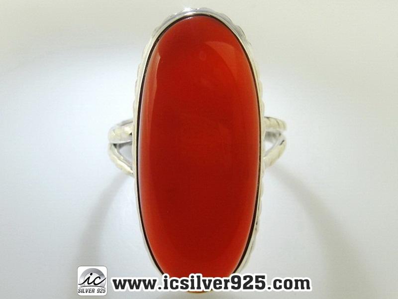 ▽คาร์เนเลี่ยน (Carnelian) แหวนเงินแท้ 925 (แหวนเบอร์ : 58)